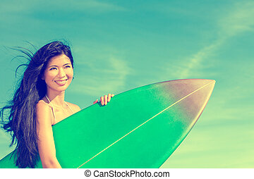 Beautiful Bikini Woman Girl Surfer & Surfboard Beach -...