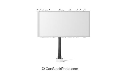 Blank white banner mockup, city three sides billboard,...
