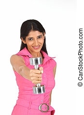 Lady  exercising with dumbbell