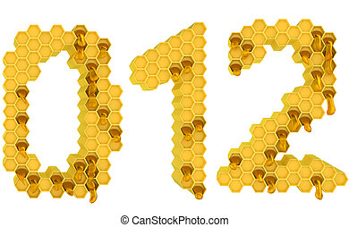 Honey font 0 1 and 2 numerals isolated over white