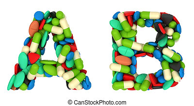 Healthcare font A and B pills letters over white