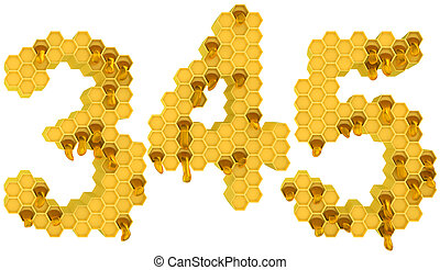 Honey font 3 4 and 5 numerals isolated over white