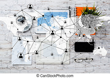 Social connection and networking concepts. - Top view of...