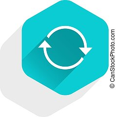 Flat arrow sign refresh icon hexagon button - Use it in all...