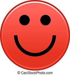 Red smiling face cheerful smiley happy emoticon. Quick and...