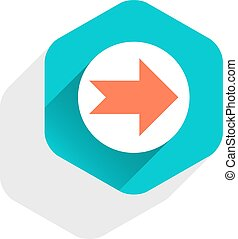 Flat arrow sign round icon hexagon button - Use it in all...