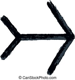 Arrow Sign Sketch Brush Stroke - Black arrow sign painted by...
