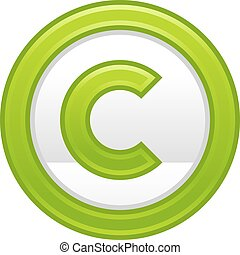 Green Copyright Symbol Sign Matte Icon - Use it in all your...