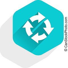 Flat arrow sign rotation icon hexagon button - Use it in all...