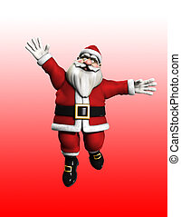 A very happy father Christmas jumping for joy.