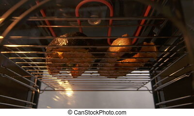 Cooking grilled salmon fish steak broiled in the oven...