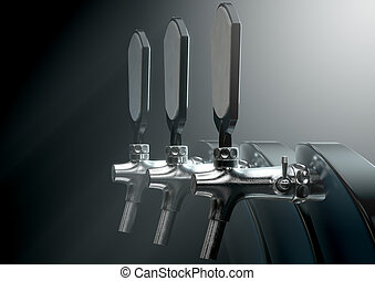 Beer Tap - A row of slick modern black and chrome draught...