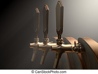 Beer Tap - A row of wood and brass draught beer taps on an...