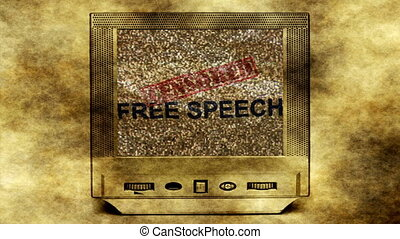 Free speech on vintage tv concept