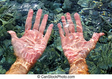 hands underwater river water wavy distorted shapes