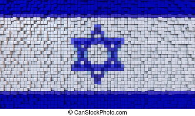Stylized mosaic flag of Israel made of moving pixels,...
