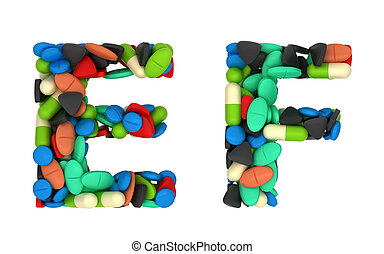 Pharmaceutical font C and D pills letters over white
