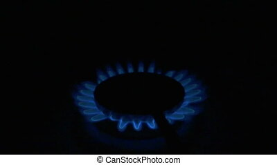 Flames Of A Gas Stove. slow motion - Flames Of A Gas Stove