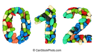 Pills font 0 1 and 2 numerals isolated over white