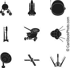 estilo, conjunto, lunokhod, espacio, equipment., símbolo,...