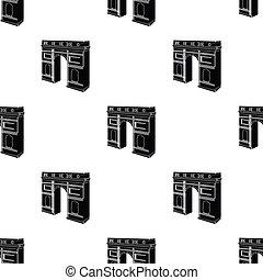 Arc de Triomphe in Paris. Arch Building single icon in black...