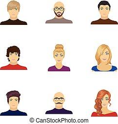 Appearance of the girl in glasses, a guy with a hairdo, a...