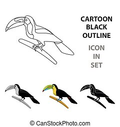 Mexican keel-billed toucan icon in cartoon style isolated on...