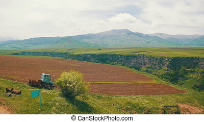 Landscape view of the Canyon, Gorge, Farm Fields and...