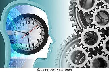 3d mechanic - 3d illustration of clock over white background...