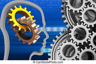 3d mechanic - 3d illustration of gears over cyber background...