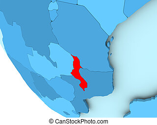 Malawi on blue political globe - Malawi highlighted in red...
