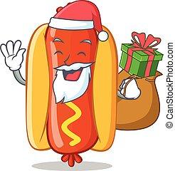 Santa With Gift Hot Dog Cartoon Character Vector...