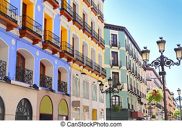 Zaragoza city Spain Alfonso I street coloful building...