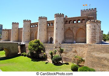 Aljaferia palace castle in Zaragoza Spain Aragon outdoor...