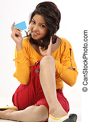 teenage girl with blue card