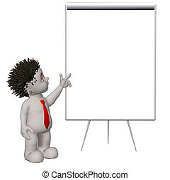 Boris 3D character pointing to blank flipchart