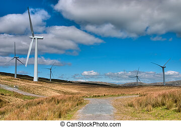 Windfarm - Group of modern windmills for electric power...