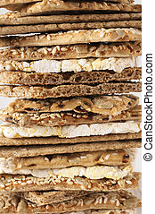 Various whole grain flatbread crackers - Stack of various...