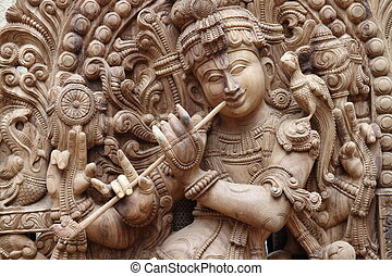 Idol of lord krishna with flute