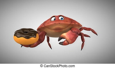 spaß, animation, -, krabbe, 3d