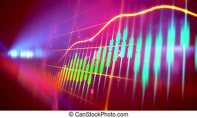 Bull market line chart - Multicolored 3d illustration of a...