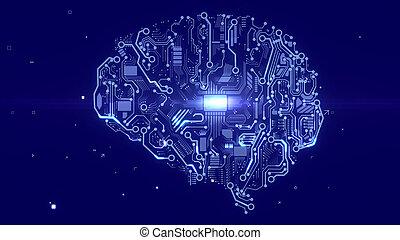 Terminator brain with CPU microchips - Futuristic 3d...