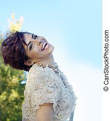 Beautiful happy joyous young woman