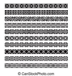 asian frame ornament, pattern brush ,korean, chinese, japanese vector set