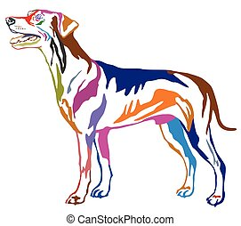 Colorful decorative standing portrait of dog German Pinscher...