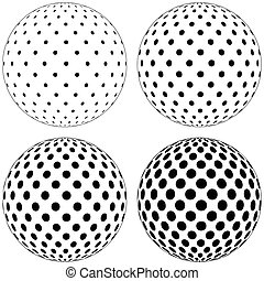 Set of 3D globe ball, dots circles pattern on the surface of...