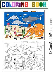 Seabed with marine animals. Vector coloring for kids,...
