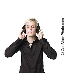 Man with headphones listen to music