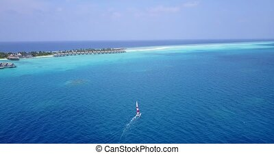 v05480 Aerial flying drone view of Maldives white sandy...