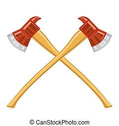 Firefighter Cross Axes Icon Isolated on White Background